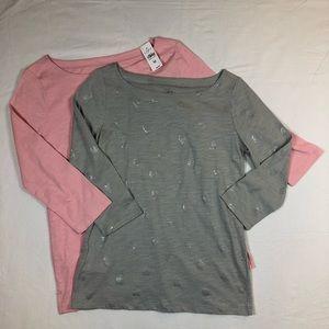 LOFT pink gray top bundle size medium